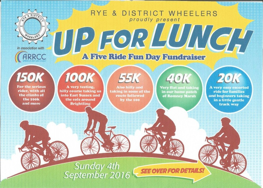 "Rye Wheelers Charity Cycle Ride ""Up for Lunch"", 04-09-2016."