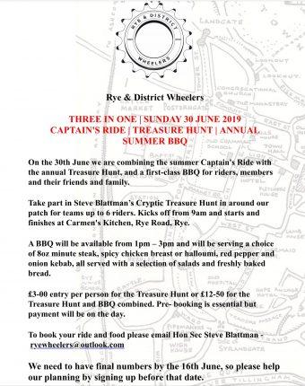 Captain's Ride, BBQ and Treasure Hunt 30th June