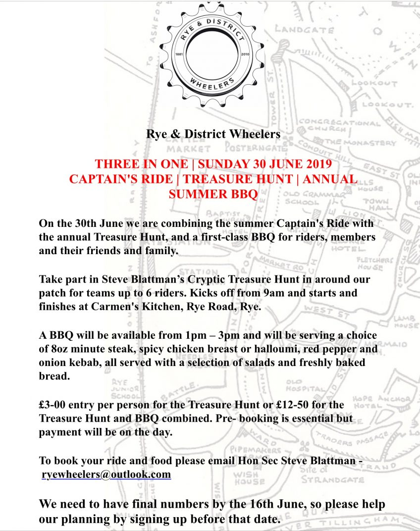 Captain's Ride, BBQ and Treasure Hunt 30th June