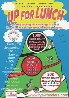 "Rye Wheelers ""Up for Lunch"" Charity Ride. 01-09-2019."